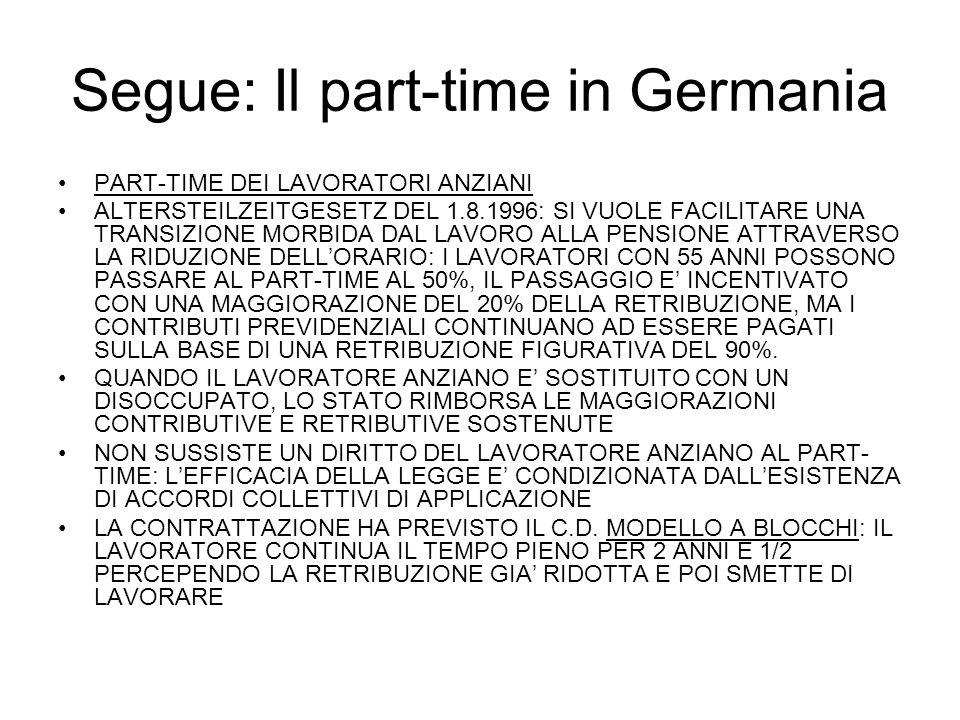 Segue: Il part-time in Germania PART-TIME DEI LAVORATORI ANZIANI ALTERSTEILZEITGESETZ DEL 1.8.1996: SI VUOLE FACILITARE UNA TRANSIZIONE MORBIDA DAL LAVORO ALLA PENSIONE ATTRAVERSO LA RIDUZIONE DELLORARIO: I LAVORATORI CON 55 ANNI POSSONO PASSARE AL PART-TIME AL 50%, IL PASSAGGIO E INCENTIVATO CON UNA MAGGIORAZIONE DEL 20% DELLA RETRIBUZIONE, MA I CONTRIBUTI PREVIDENZIALI CONTINUANO AD ESSERE PAGATI SULLA BASE DI UNA RETRIBUZIONE FIGURATIVA DEL 90%.