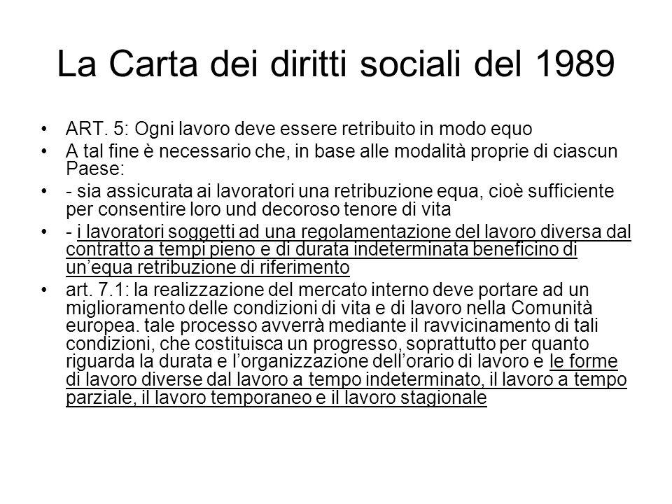 La Carta dei diritti sociali del 1989 ART. 5: Ogni lavoro deve essere retribuito in modo equo A tal fine è necessario che, in base alle modalità propr