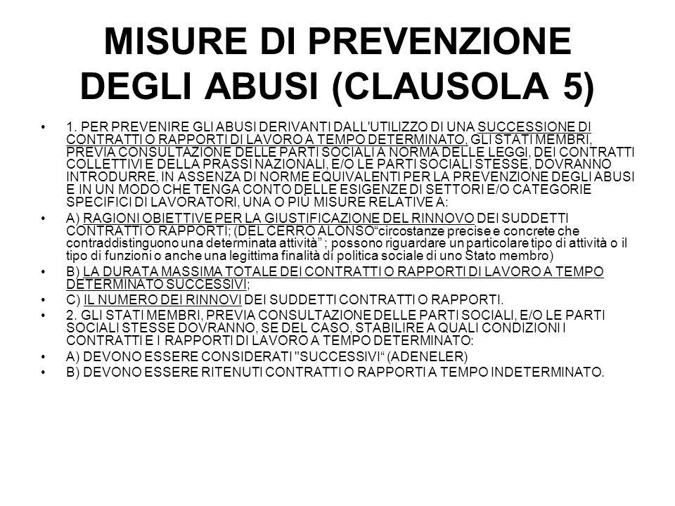 MISURE DI PREVENZIONE DEGLI ABUSI (CLAUSOLA 5) 1.