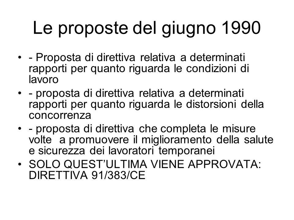 Le proposte del giugno 1990 - Proposta di direttiva relativa a determinati rapporti per quanto riguarda le condizioni di lavoro - proposta di direttiva relativa a determinati rapporti per quanto riguarda le distorsioni della concorrenza - proposta di direttiva che completa le misure volte a promuovere il miglioramento della salute e sicurezza dei lavoratori temporanei SOLO QUESTULTIMA VIENE APPROVATA: DIRETTIVA 91/383/CE