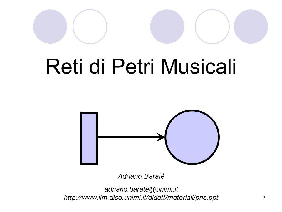 1 Reti di Petri Musicali Adriano Baratè adriano.barate@unimi.it http://www.lim.dico.unimi.it/didatt/materiali/pns.ppt