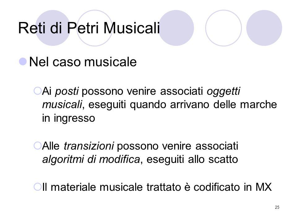 25 Reti di Petri Musicali Nel caso musicale Ai posti possono venire associati oggetti musicali, eseguiti quando arrivano delle marche in ingresso Alle
