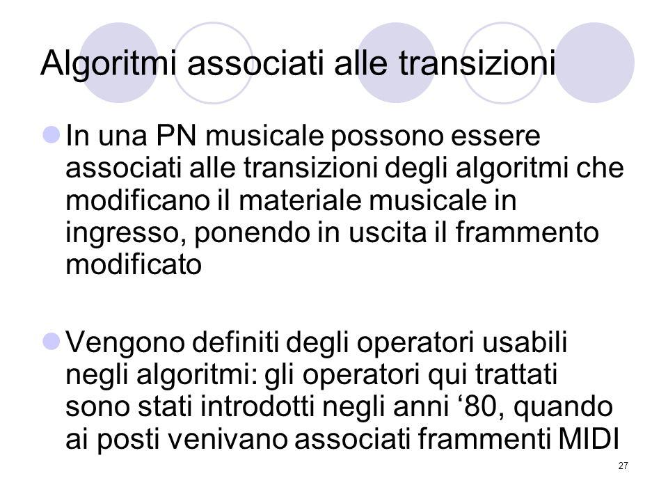 27 Algoritmi associati alle transizioni In una PN musicale possono essere associati alle transizioni degli algoritmi che modificano il materiale music