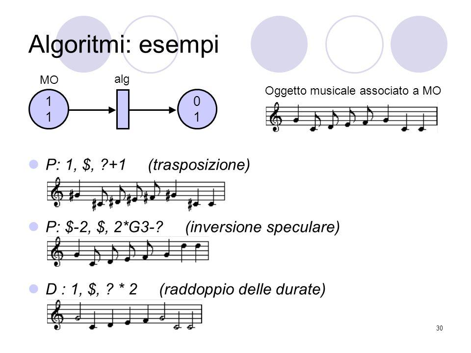30 P: 1, $, ?+1 (trasposizione) P: $-2, $, 2*G3-? (inversione speculare) D : 1, $, ? * 2 (raddoppio delle durate) Algoritmi: esempi 0101 1111 MO alg O