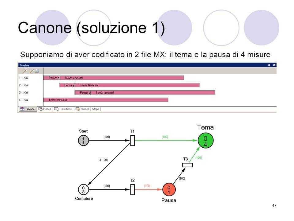 47 Canone (soluzione 1) Supponiamo di aver codificato in 2 file MX: il tema e la pausa di 4 misure