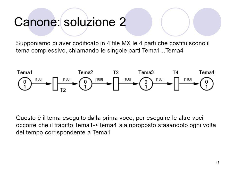 48 Canone: soluzione 2 Supponiamo di aver codificato in 4 file MX le 4 parti che costituiscono il tema complessivo, chiamando le singole parti Tema1..