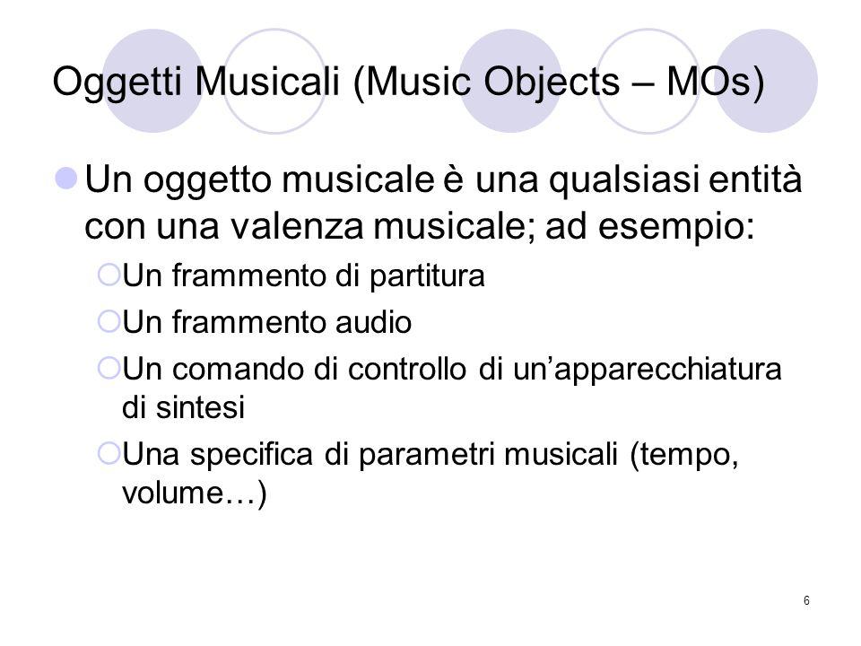 6 Oggetti Musicali (Music Objects – MOs) Un oggetto musicale è una qualsiasi entità con una valenza musicale; ad esempio: Un frammento di partitura Un