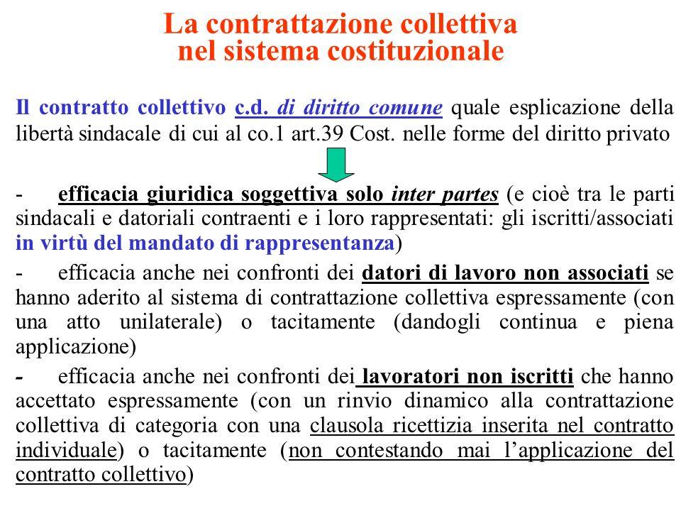 La contrattazione collettiva nel sistema costituzionale Efficacia ultra partes del contratto collettivo : Soltanto per le previsioni dei minimi retributivi quale parametro fattuale di riferimento utilizzato dalla giurisprudenza per la determinazione della retribuzione sufficiente e proporzionata Art.