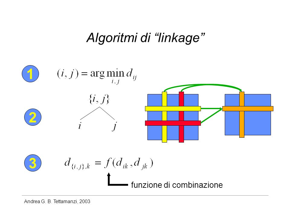 Andrea G. B. Tettamanzi, 2003 Algoritmi di linkage 1 2 3 funzione di combinazione