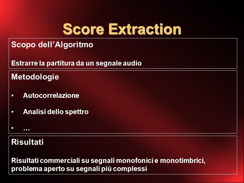 Score Extraction Scopo dellAlgoritmo Estrarre la partitura da un segnale audio Metodologie Autocorrelazione Analisi dello spettro … Risultati Risultati commerciali su segnali monofonici e monotimbrici, problema aperto su segnali più complessi