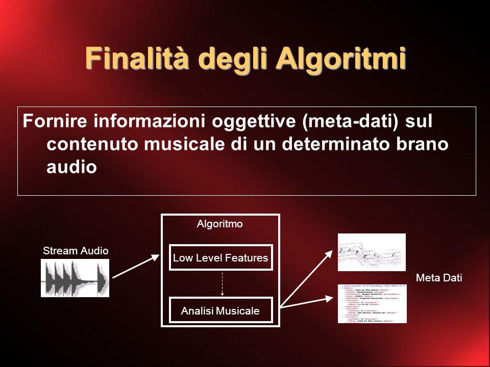Finalità degli Algoritmi Fornire informazioni oggettive (meta-dati) sul contenuto musicale di un determinato brano audio Stream Audio Algoritmo Meta Dati Low Level Features Analisi Musicale