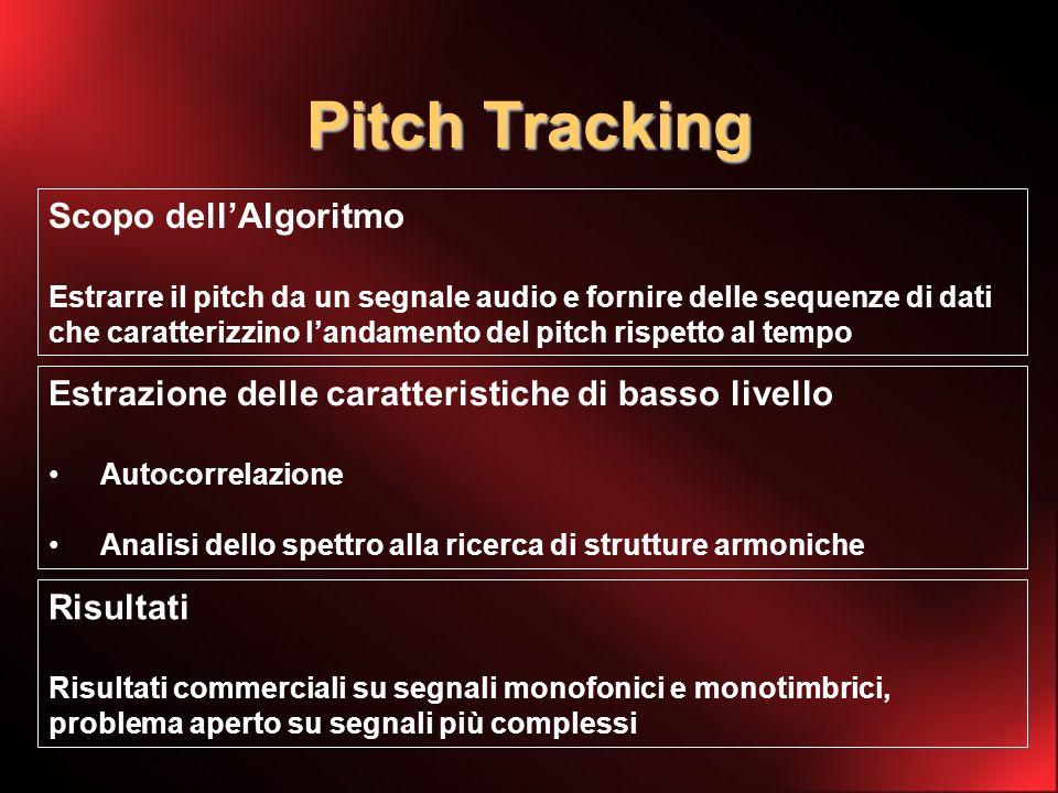 Pitch Tracking Scopo dellAlgoritmo Estrarre il pitch da un segnale audio e fornire delle sequenze di dati che caratterizzino landamento del pitch rispetto al tempo Estrazione delle caratteristiche di basso livello Autocorrelazione Analisi dello spettro alla ricerca di strutture armoniche Risultati Risultati commerciali su segnali monofonici e monotimbrici, problema aperto su segnali più complessi
