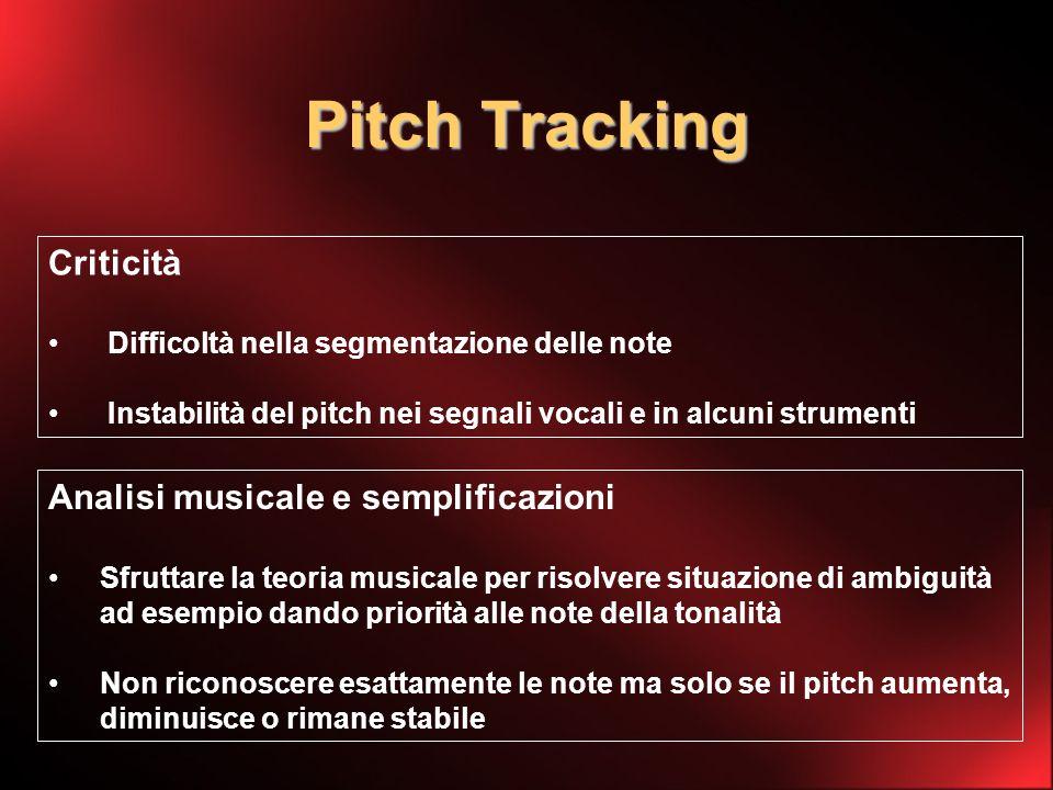 Pitch Tracking Criticità Difficoltà nella segmentazione delle note Instabilità del pitch nei segnali vocali e in alcuni strumenti Analisi musicale e semplificazioni Sfruttare la teoria musicale per risolvere situazione di ambiguità ad esempio dando priorità alle note della tonalità Non riconoscere esattamente le note ma solo se il pitch aumenta, diminuisce o rimane stabile