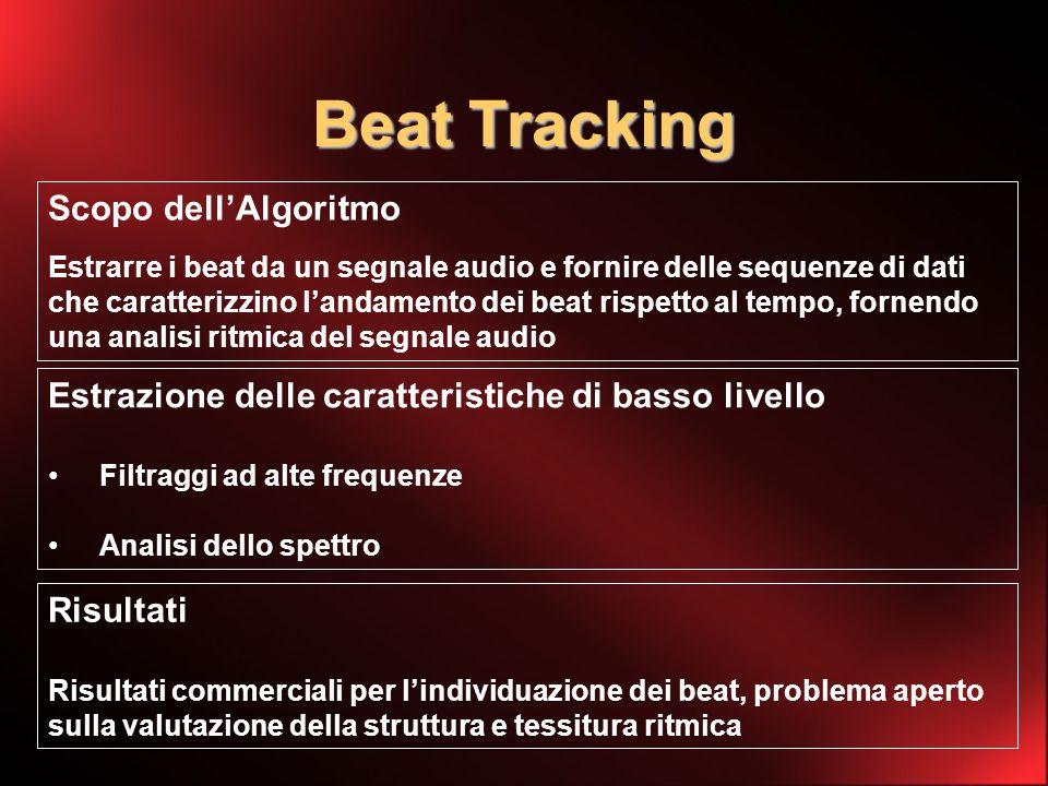 Beat Tracking Scopo dellAlgoritmo Estrarre i beat da un segnale audio e fornire delle sequenze di dati che caratterizzino landamento dei beat rispetto al tempo, fornendo una analisi ritmica del segnale audio Estrazione delle caratteristiche di basso livello Filtraggi ad alte frequenze Analisi dello spettro Risultati Risultati commerciali per lindividuazione dei beat, problema aperto sulla valutazione della struttura e tessitura ritmica