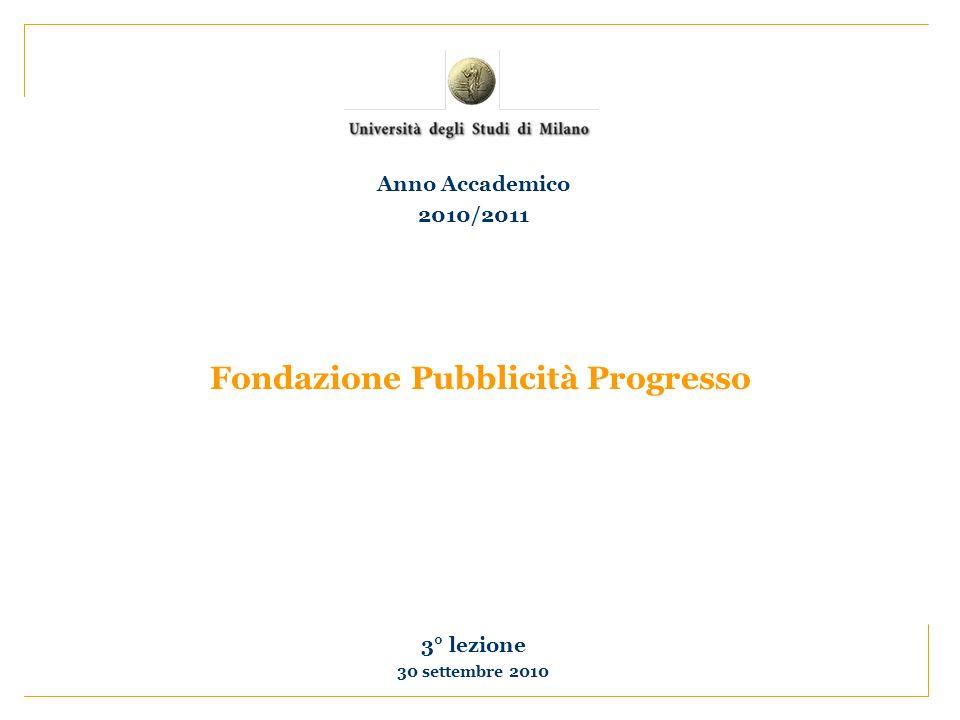 Fondazione Pubblicità Progresso 3° lezione 30 settembre 2010 Anno Accademico 2010/2011