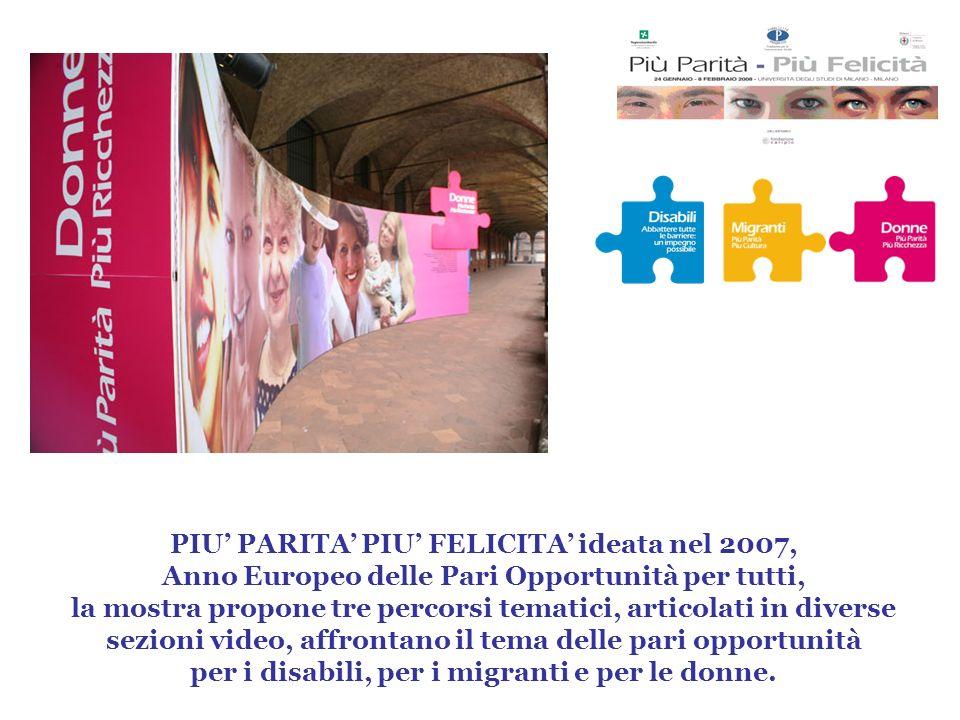 PIU PARITA PIU FELICITA ideata nel 2007, Anno Europeo delle Pari Opportunità per tutti, la mostra propone tre percorsi tematici, articolati in diverse