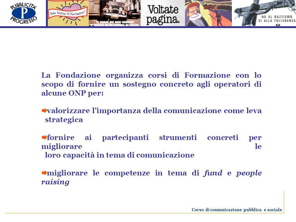 La Fondazione organizza corsi di Formazione con lo scopo di fornire un sostegno concreto agli operatori di alcune ONP per: valorizzare limportanza del