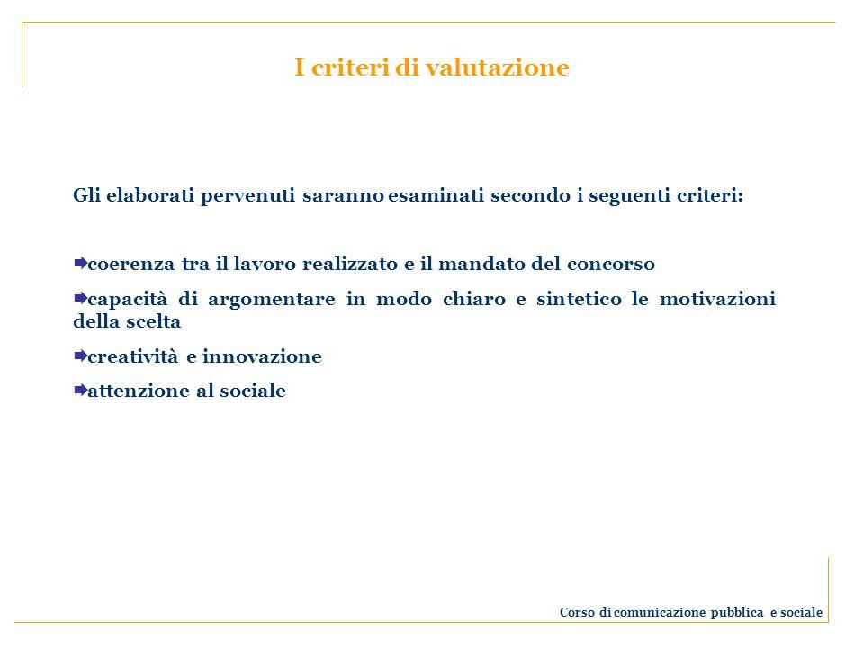 Gli elaborati pervenuti saranno esaminati secondo i seguenti criteri: coerenza tra il lavoro realizzato e il mandato del concorso capacità di argoment