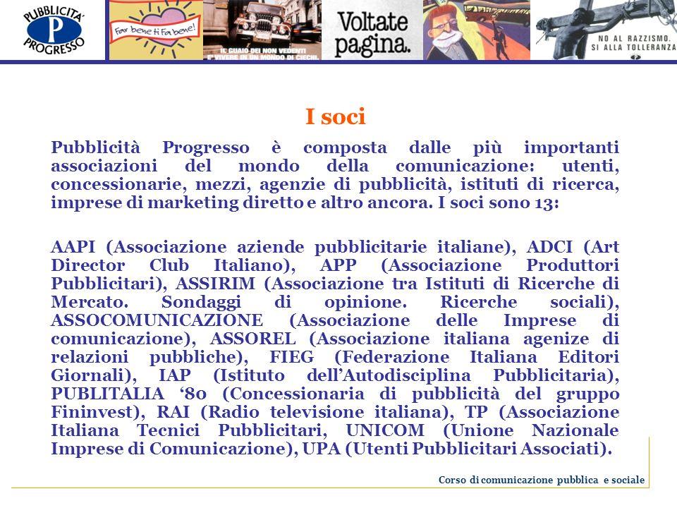 I soci Pubblicità Progresso è composta dalle più importanti associazioni del mondo della comunicazione: utenti, concessionarie, mezzi, agenzie di pubb
