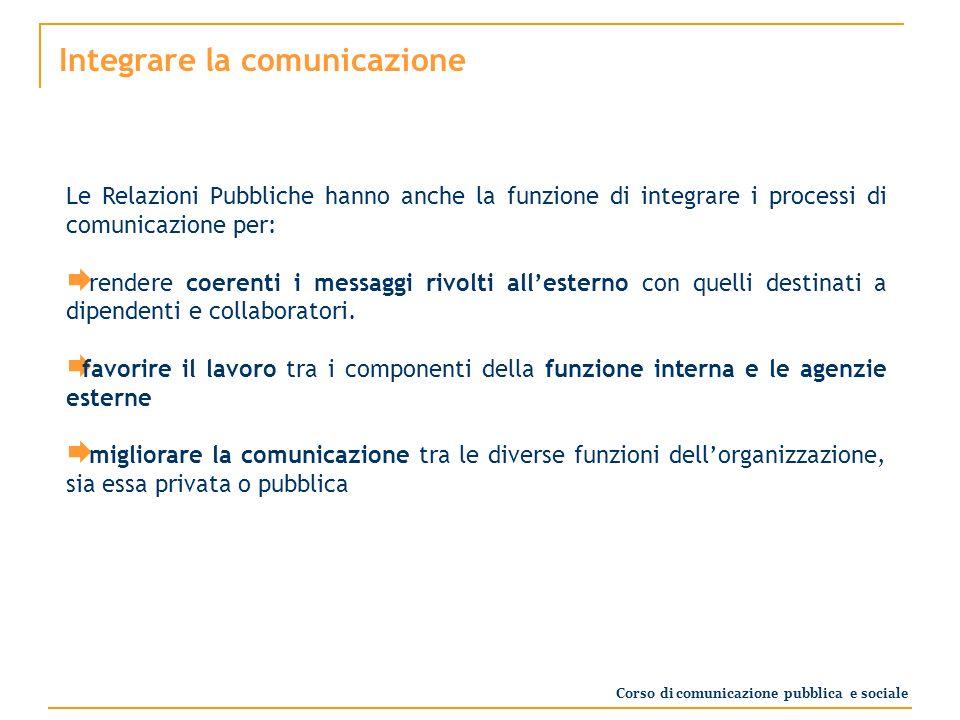 Integrare la comunicazione Le Relazioni Pubbliche hanno anche la funzione di integrare i processi di comunicazione per: rendere coerenti i messaggi rivolti allesterno con quelli destinati a dipendenti e collaboratori.