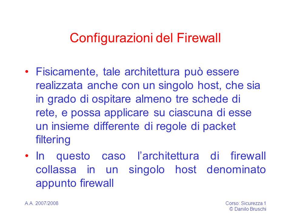 A.A. 2007/2008Corso: Sicurezza 1 © Danilo Bruschi Configurazioni del Firewall Fisicamente, tale architettura può essere realizzata anche con un singol