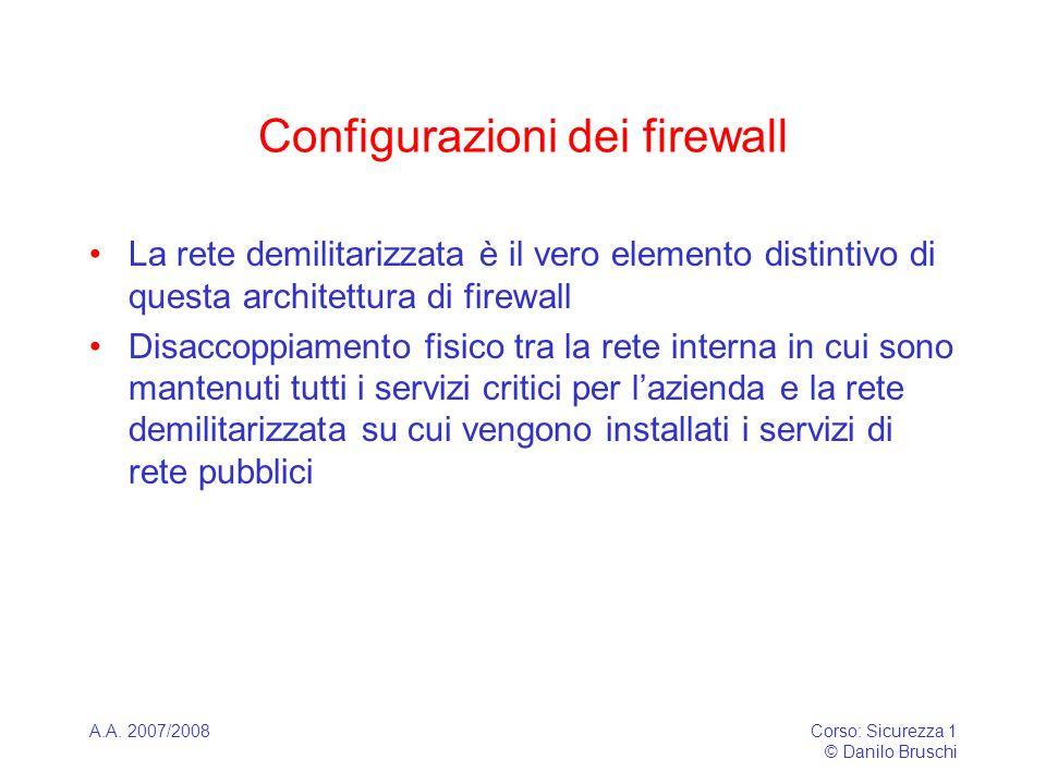 A.A. 2007/2008Corso: Sicurezza 1 © Danilo Bruschi Configurazioni dei firewall La rete demilitarizzata è il vero elemento distintivo di questa architet