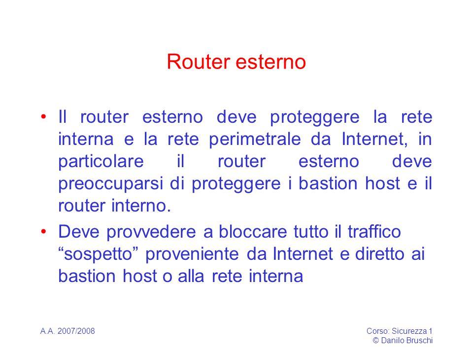 A.A. 2007/2008Corso: Sicurezza 1 © Danilo Bruschi Router esterno Il router esterno deve proteggere la rete interna e la rete perimetrale da Internet,