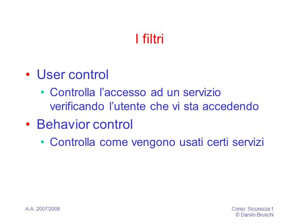 A.A. 2007/2008Corso: Sicurezza 1 © Danilo Bruschi I filtri User control Controlla laccesso ad un servizio verificando lutente che vi sta accedendo Beh