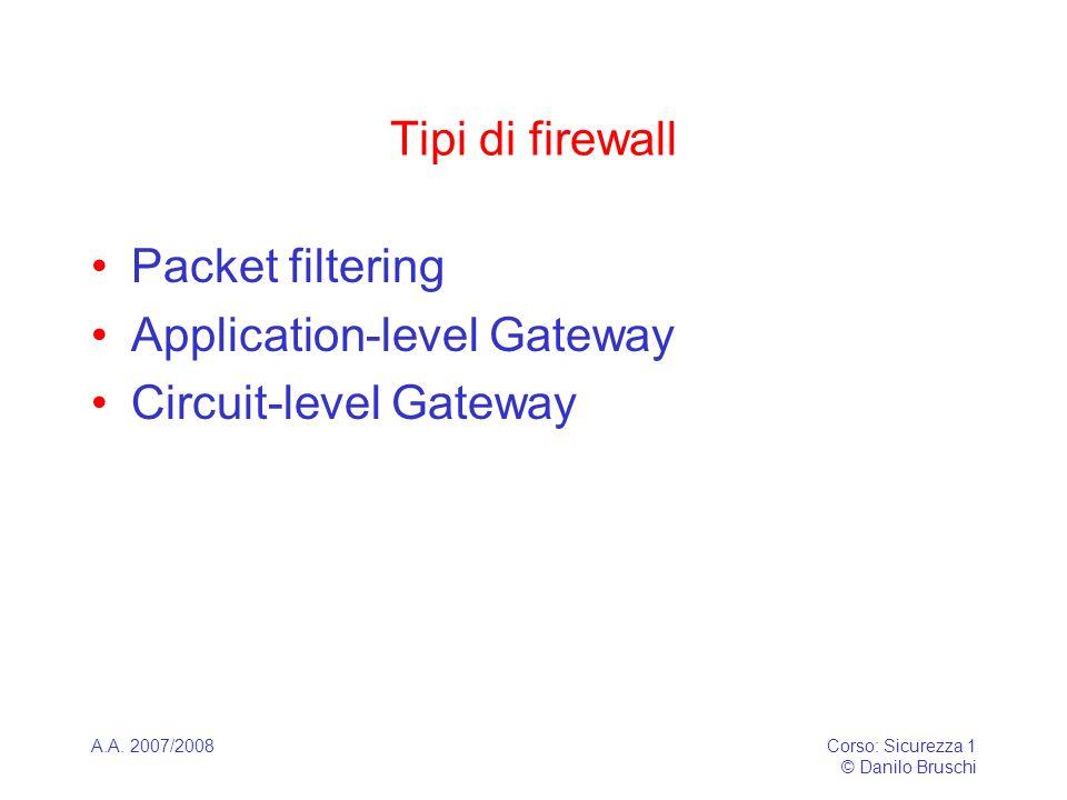 A.A. 2007/2008Corso: Sicurezza 1 © Danilo Bruschi Tipi di firewall Packet filtering Application-level Gateway Circuit-level Gateway