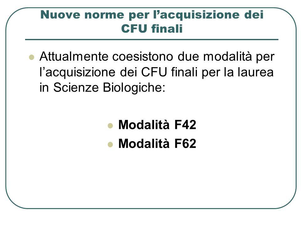 Nuove norme per lacquisizione dei CFU finali Attualmente coesistono due modalità per lacquisizione dei CFU finali per la laurea in Scienze Biologiche:
