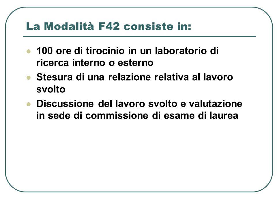 La Modalità F42 consiste in: 100 ore di tirocinio in un laboratorio di ricerca interno o esterno Stesura di una relazione relativa al lavoro svolto Di