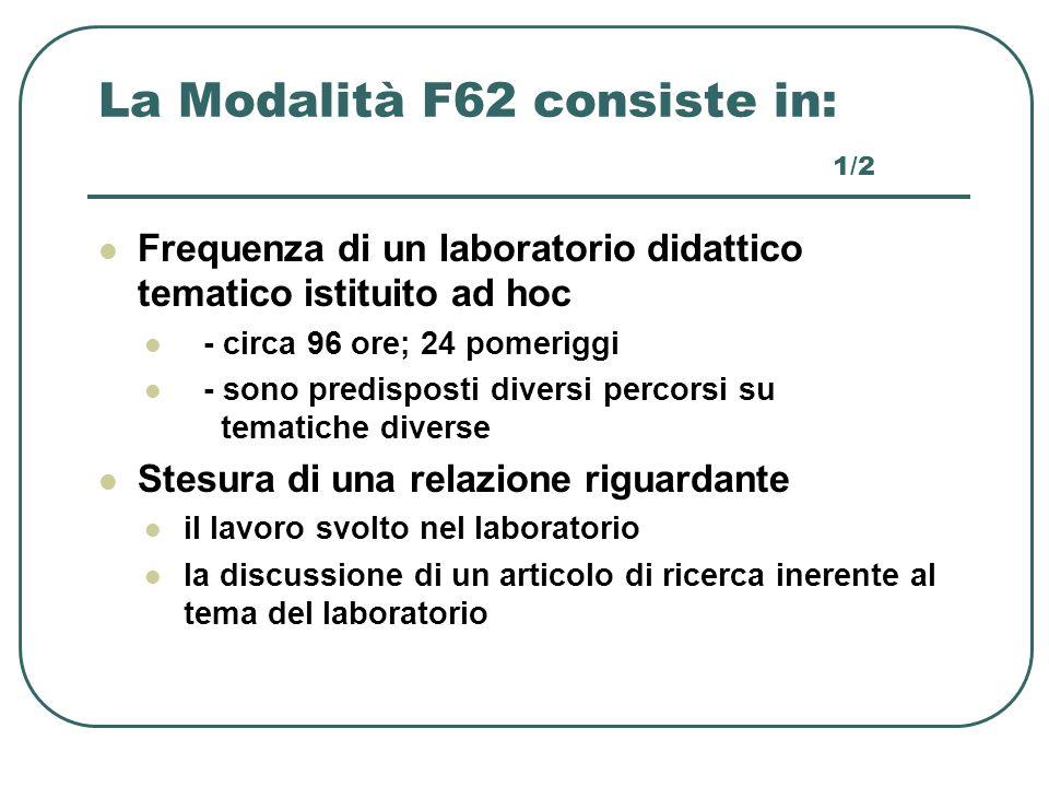 La Modalità F62 consiste in: 1/2 Frequenza di un laboratorio didattico tematico istituito ad hoc - circa 96 ore; 24 pomeriggi - sono predisposti diver