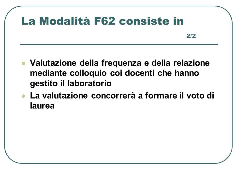 La Modalità F62 consiste in 2/2 Valutazione della frequenza e della relazione mediante colloquio coi docenti che hanno gestito il laboratorio La valut