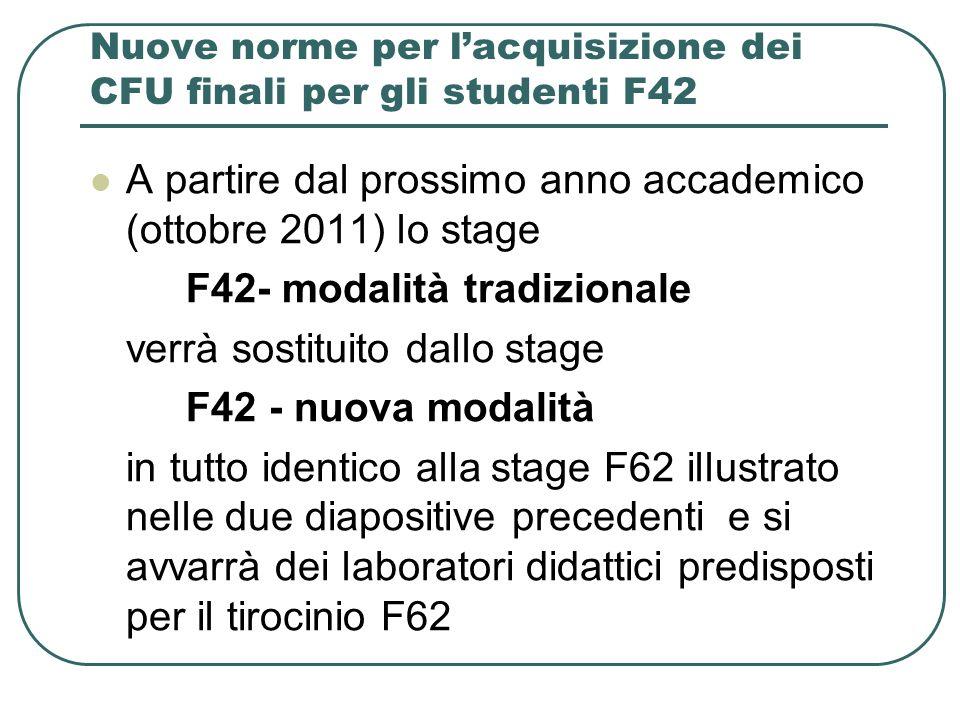 Nuove norme per lacquisizione dei CFU finali per gli studenti F42 A partire dal prossimo anno accademico (ottobre 2011) lo stage F42- modalità tradizi
