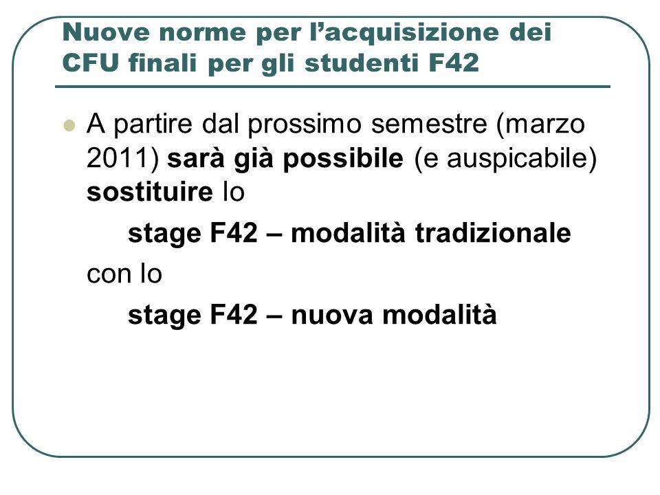 Nuove norme per lacquisizione dei CFU finali per gli studenti F42 A partire dal prossimo semestre (marzo 2011) sarà già possibile (e auspicabile) sost