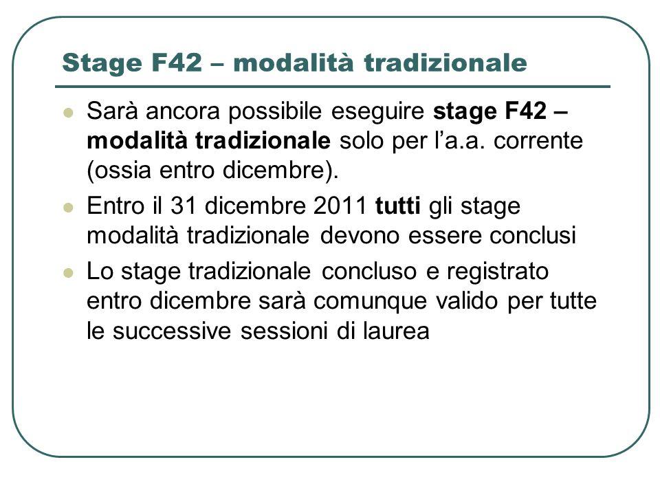 Stage F42 – modalità tradizionale Sarà ancora possibile eseguire stage F42 – modalità tradizionale solo per la.a. corrente (ossia entro dicembre). Ent