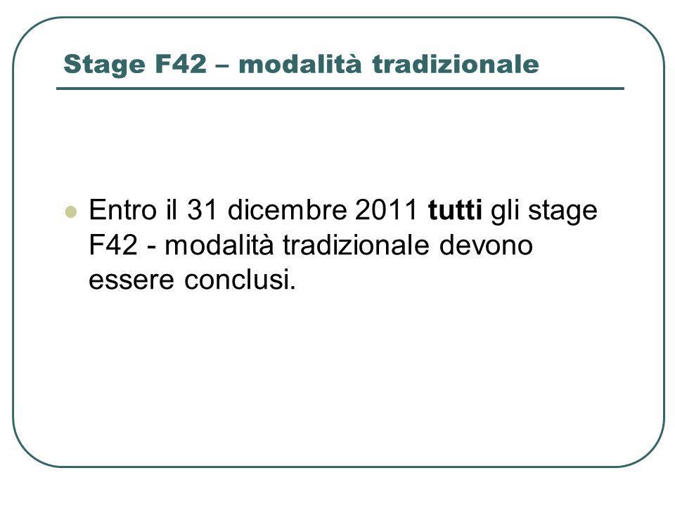 Stage F42 – modalità tradizionale Entro il 31 dicembre 2011 tutti gli stage F42 - modalità tradizionale devono essere conclusi.