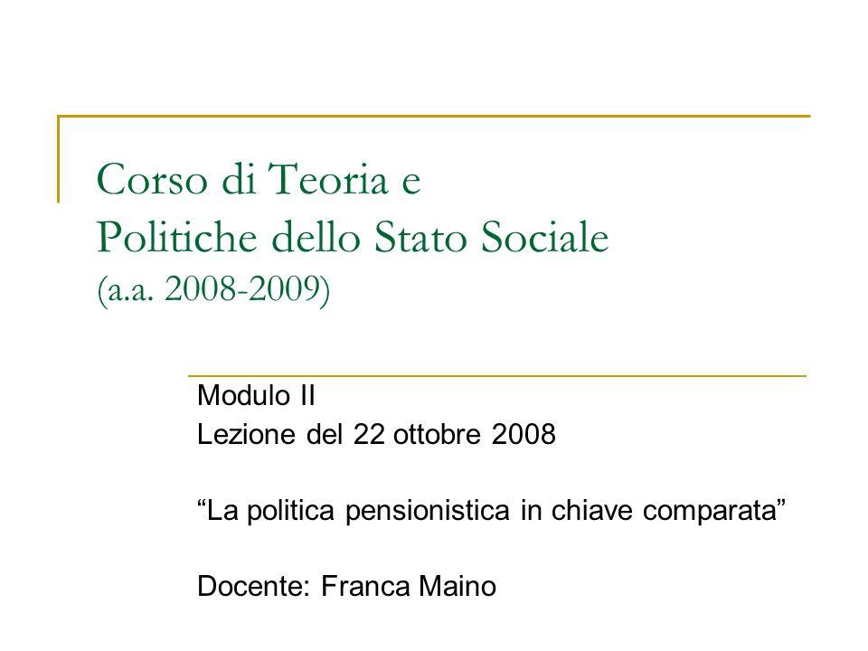 Corso di Teoria e Politiche dello Stato Sociale (a.a.