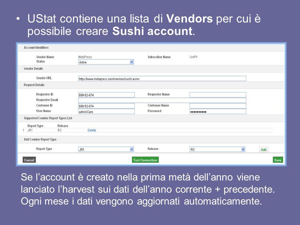 UStat contiene una lista di Vendors per cui è possibile creare Sushi account.