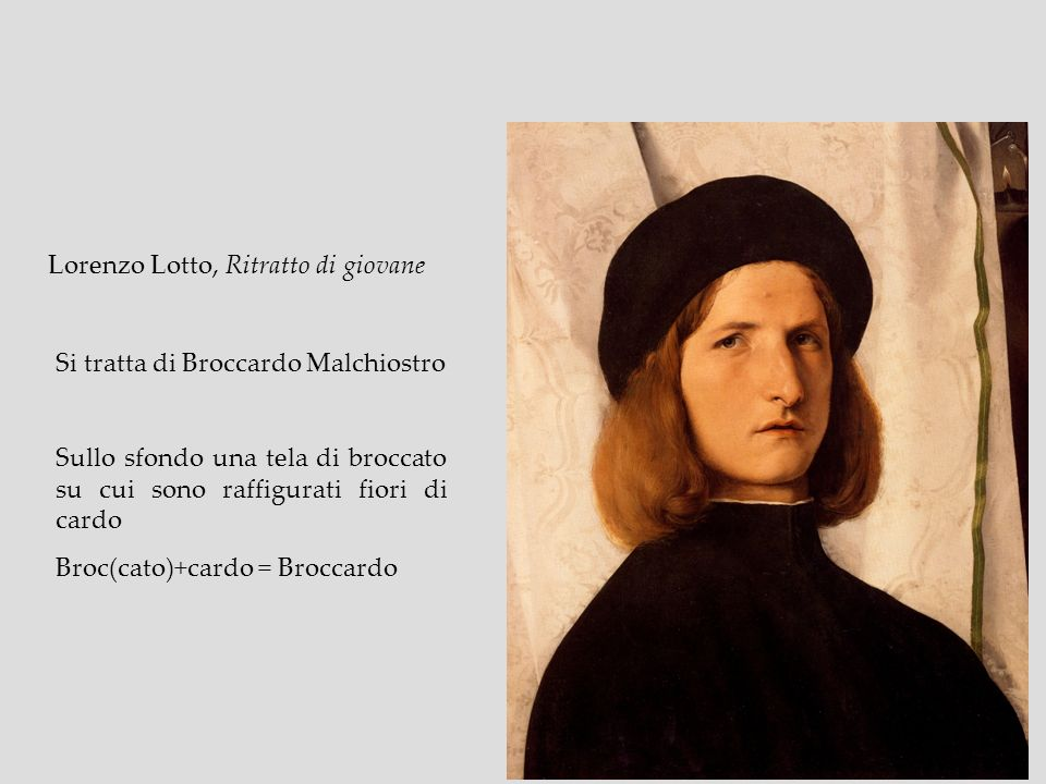 Lorenzo Lotto, Ritratto di giovane Si tratta di Broccardo Malchiostro Sullo sfondo una tela di broccato su cui sono raffigurati fiori di cardo Broc(ca