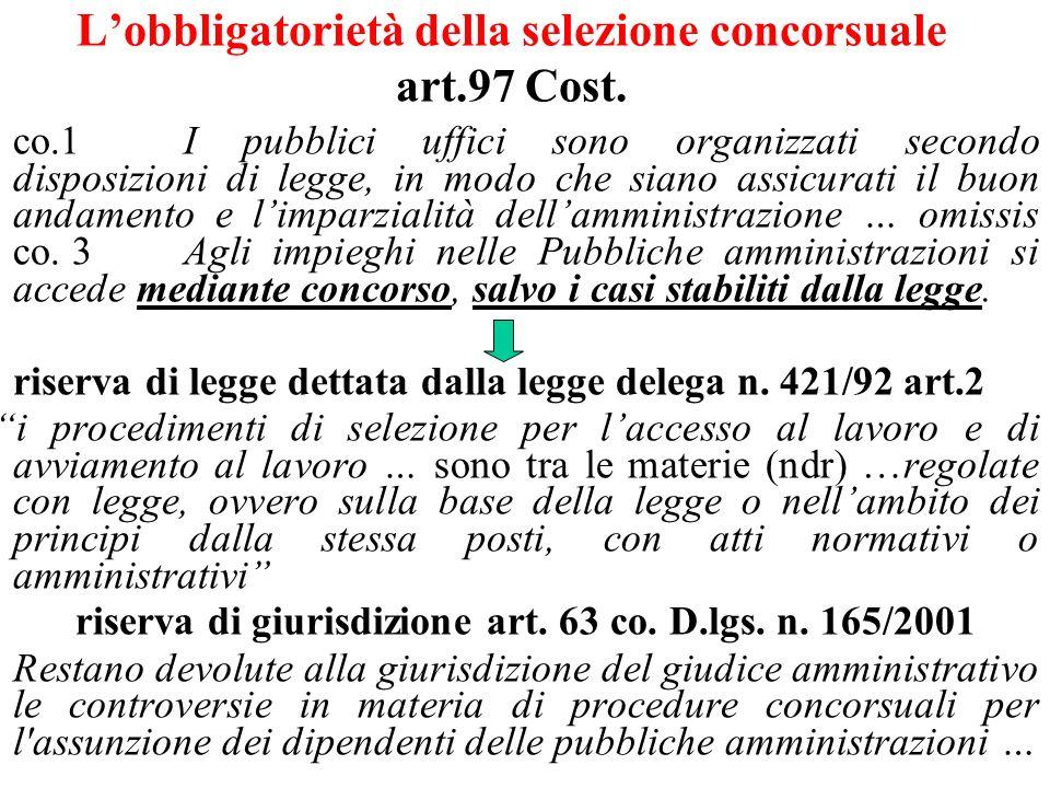 Lobbligatorietà della selezione concorsuale art.97 Cost.