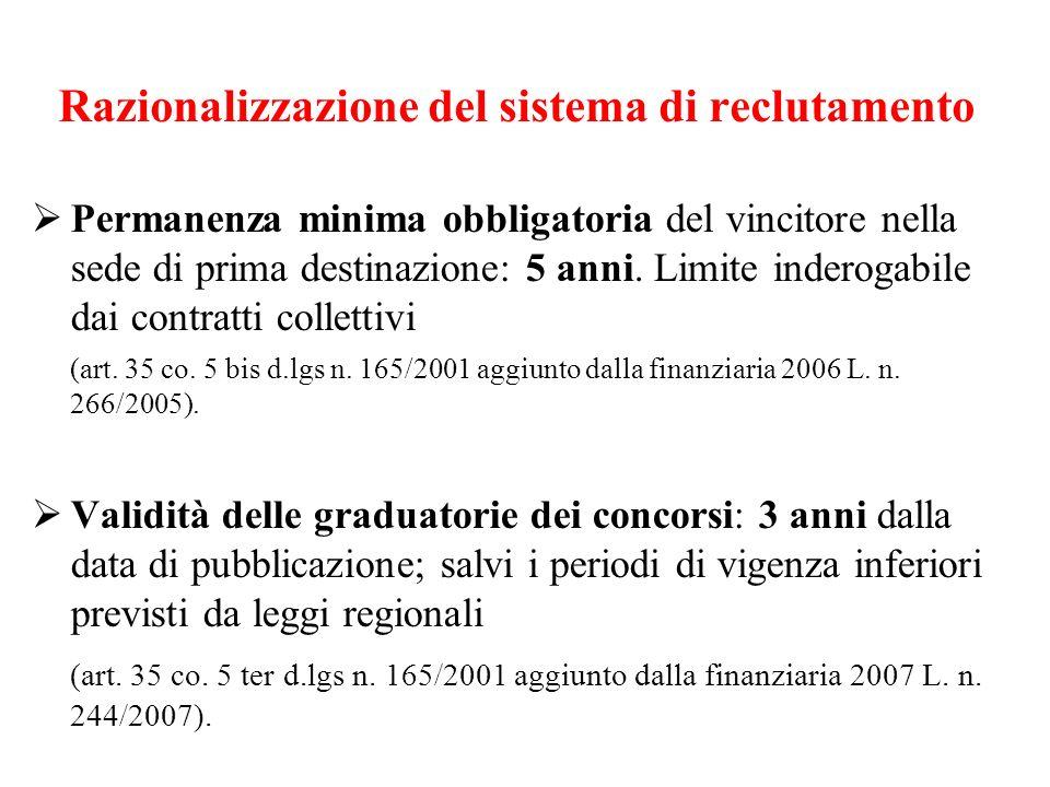 Razionalizzazione del sistema di reclutamento Permanenza minima obbligatoria del vincitore nella sede di prima destinazione: 5 anni.