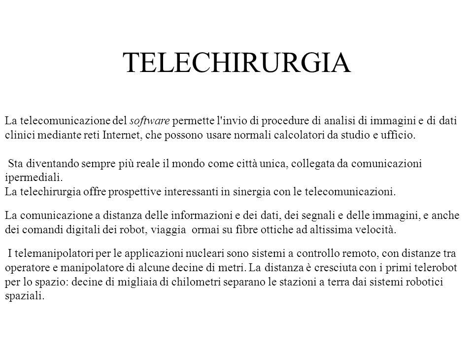 La telecomunicazione del software permette l'invio di procedure di analisi di immagini e di dati clinici mediante reti Internet, che possono usare nor