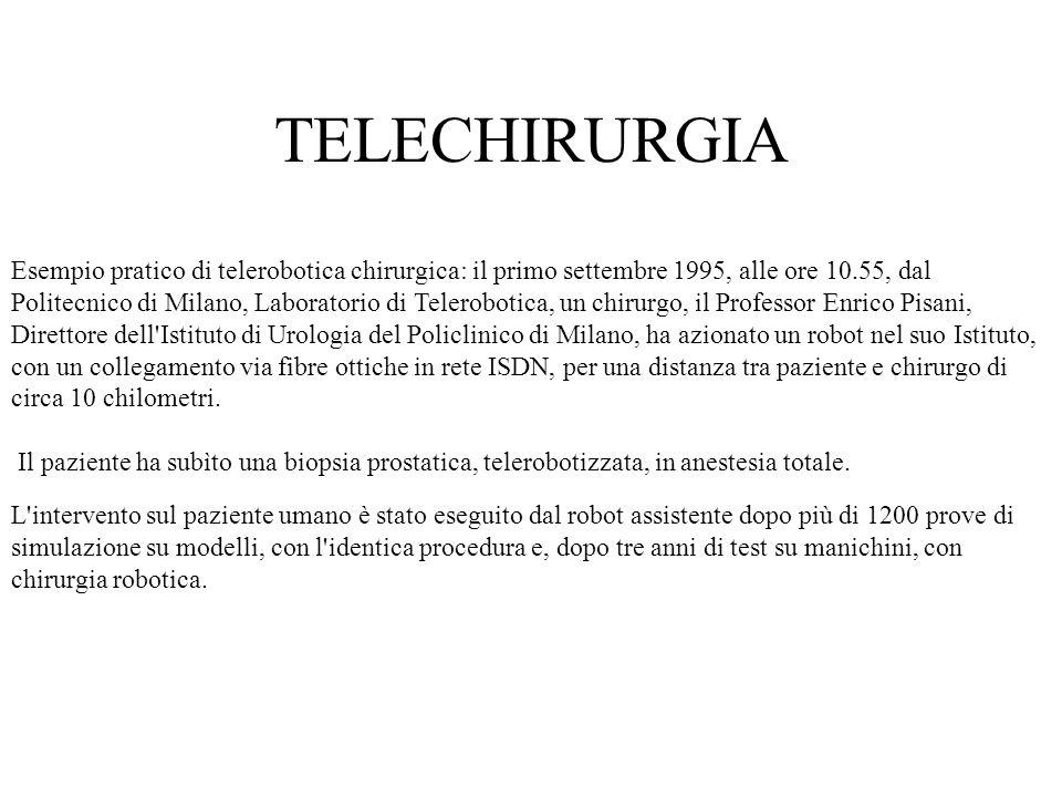 Esempio pratico di telerobotica chirurgica: il primo settembre 1995, alle ore 10.55, dal Politecnico di Milano, Laboratorio di Telerobotica, un chirur
