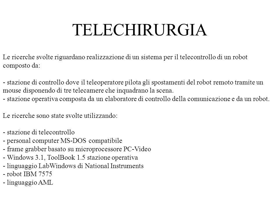 Le ricerche svolte riguardano realizzazione di un sistema per il telecontrollo di un robot composto da: - stazione di controllo dove il teleoperatore