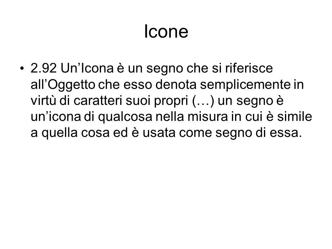 Icone 2.92 UnIcona è un segno che si riferisce allOggetto che esso denota semplicemente in virtù di caratteri suoi propri (…) un segno è unicona di qu