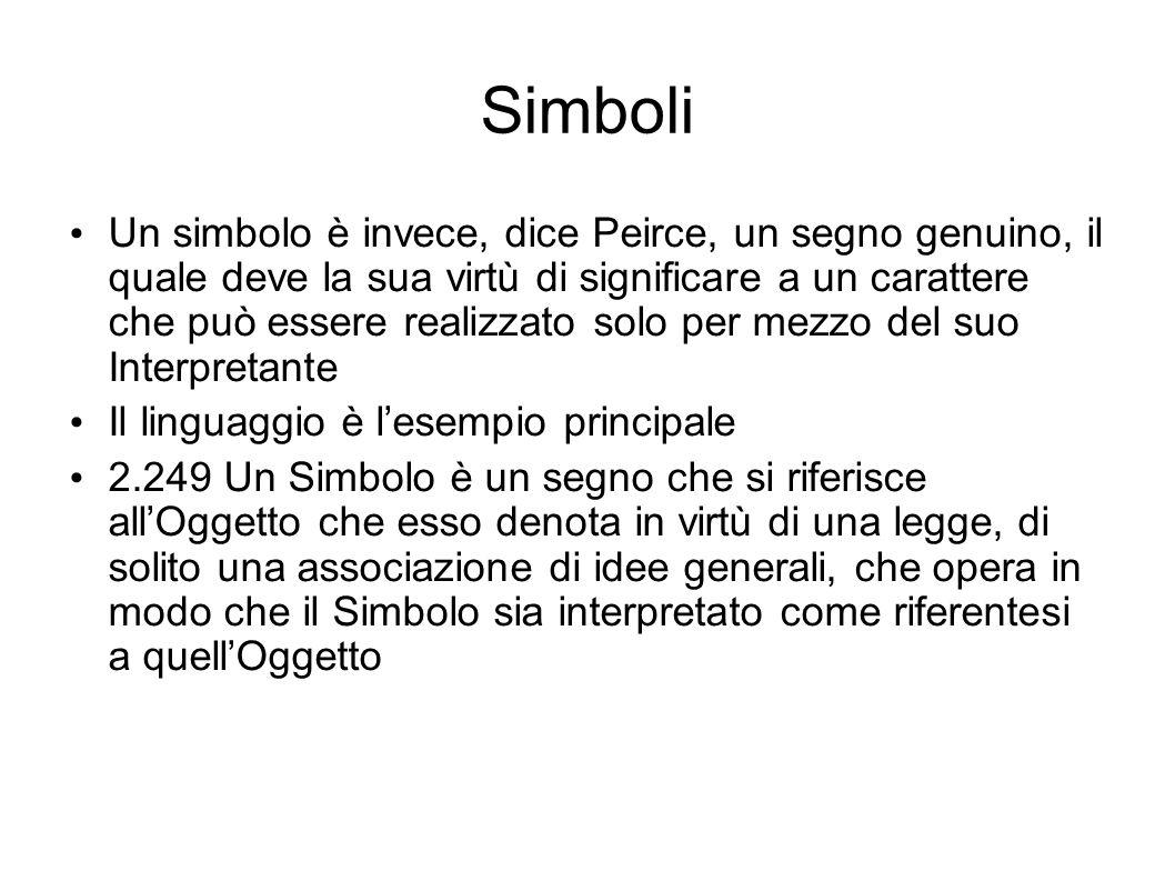 Simboli Un simbolo è invece, dice Peirce, un segno genuino, il quale deve la sua virtù di significare a un carattere che può essere realizzato solo pe