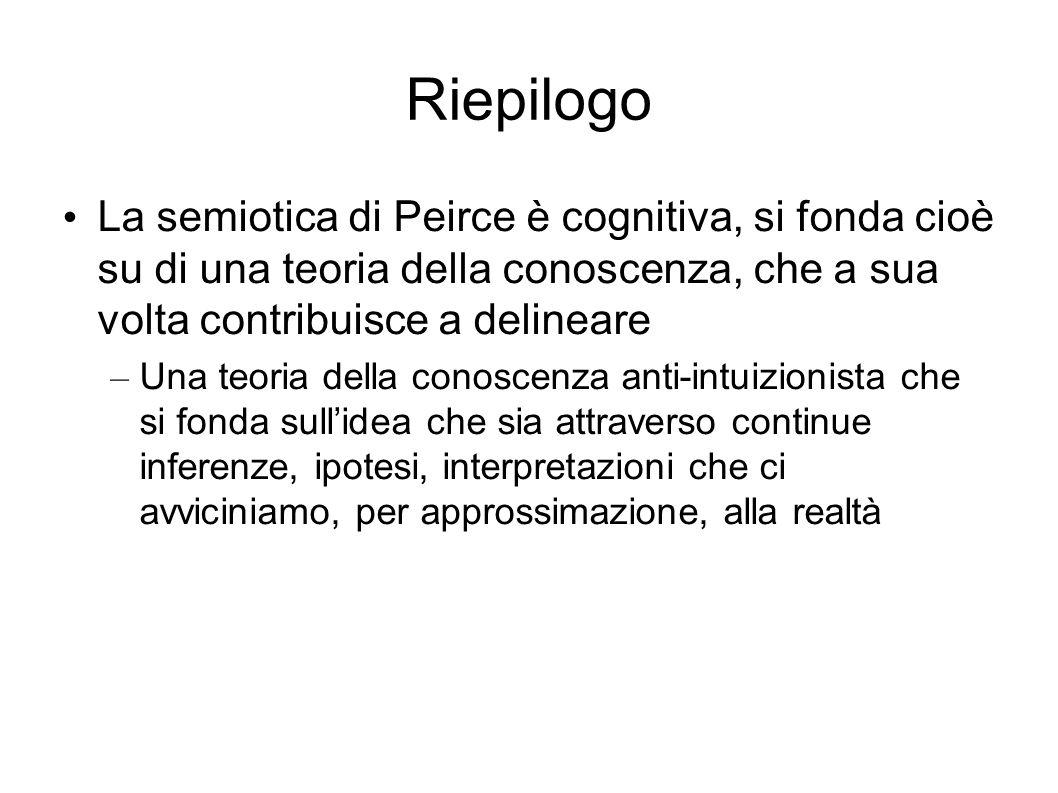Riepilogo La semiotica di Peirce è cognitiva, si fonda cioè su di una teoria della conoscenza, che a sua volta contribuisce a delineare – Una teoria d