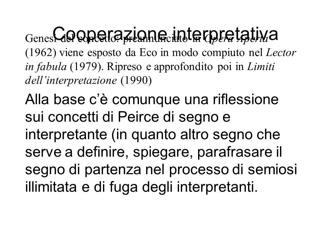 Cooperazione interpretativa Genesi del concetto: preannunciato in Opera Aperta (1962) viene esposto da Eco in modo compiuto nel Lector in fabula (1979