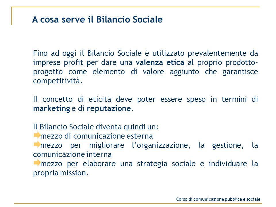 Fino ad oggi il Bilancio Sociale è utilizzato prevalentemente da imprese profit per dare una valenza etica al proprio prodotto- progetto come elemento di valore aggiunto che garantisce competitività.